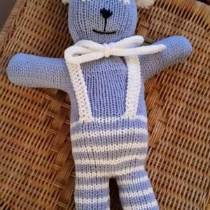 Teddy blau mit Hosenträger