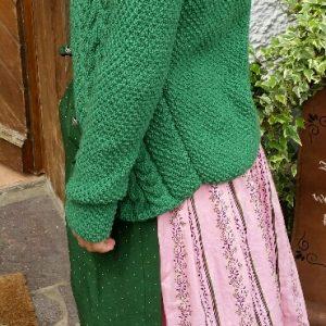 Dirndl rosa m. Schürze u. Jacke grün - seitlich